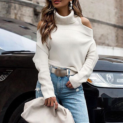 Fashionable solid color shoulder lapel long sleeve knit sweater