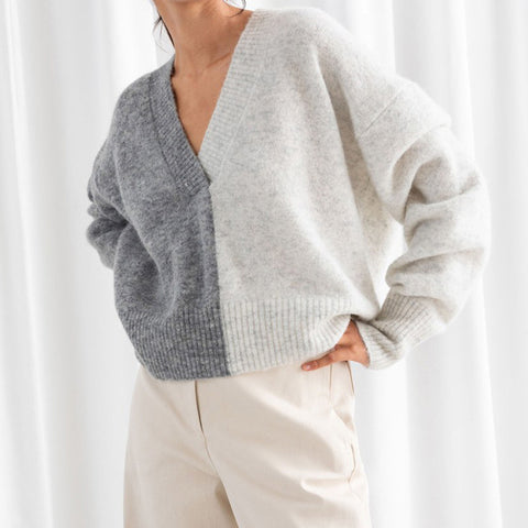 Simple V-neck colorblock long-sleeved knit sweater