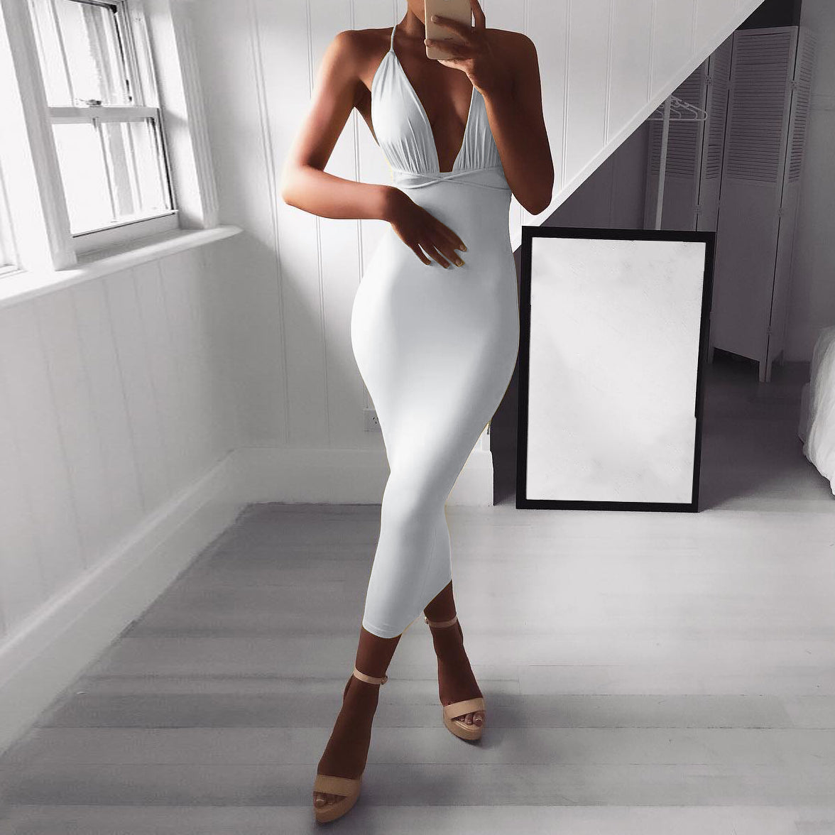 Women's Sexy Solid Color Sleeveless Dress
