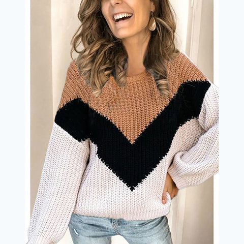 Women's casual colorblock sweater