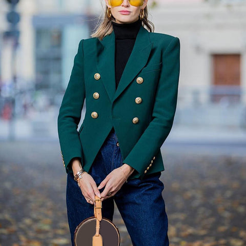 Women Suit Temperament Retro Dark Green Flip Collar Jacket With Button Decor