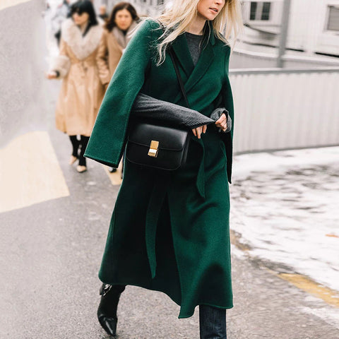 Solid Color Fashion Women Long Overcoat