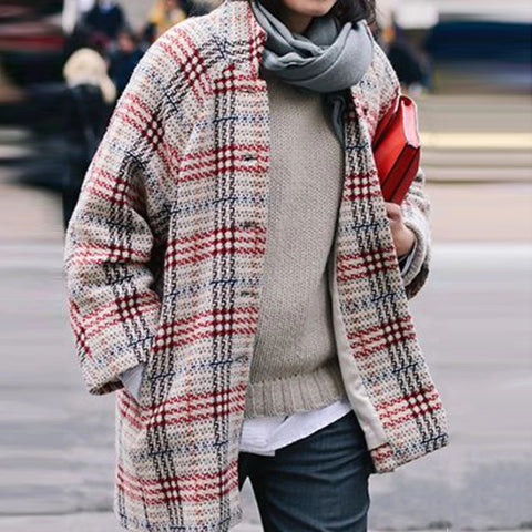 Long Sleeve Casual Checkeredplaid Outerwear