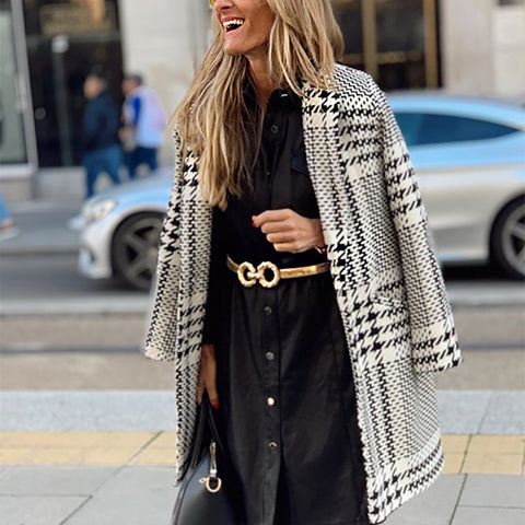 Women's Fashion Lapel Long Sleeve Knit Jacket