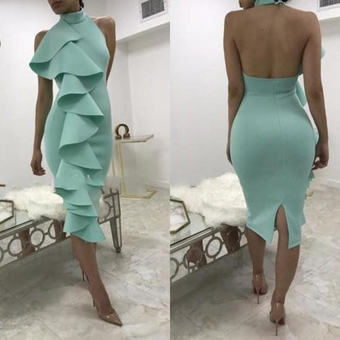 Sexy Sleeveless Flouncing Bodycon Dress