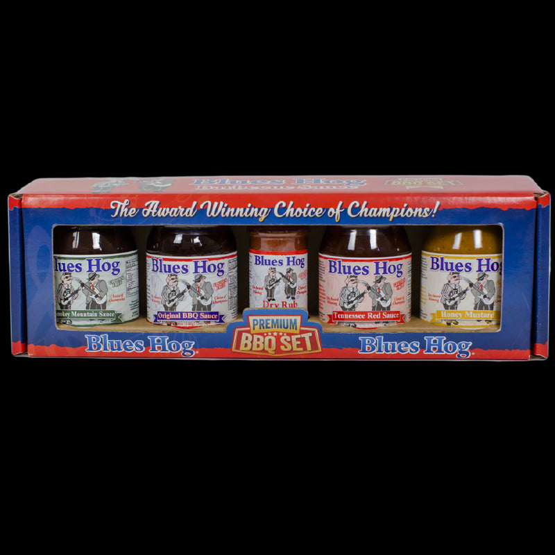 "Blues Hog gift boxes contain all the award-winning, Choice of Champions"" Blues Hog sauce varieties!"
