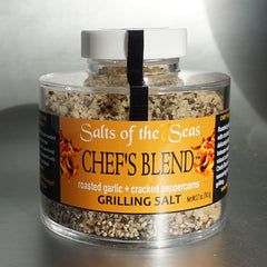 Roasted garlic infused sea salt and cracked peppercorns