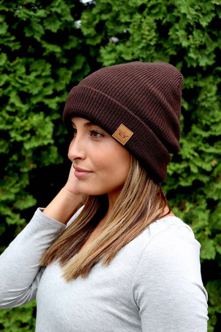 Brown Ribbed Beanie