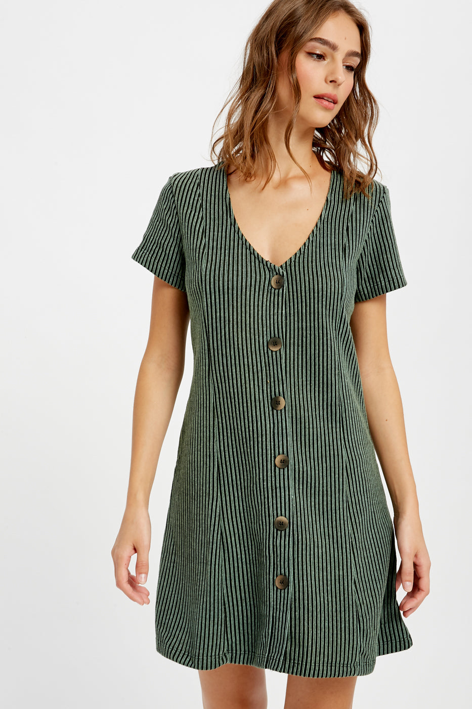 Striped Button Down Dress - Dalton Boutique