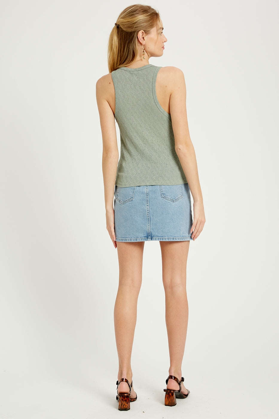 Sleeveless Ribbed Top in Sage - Dalton Boutique