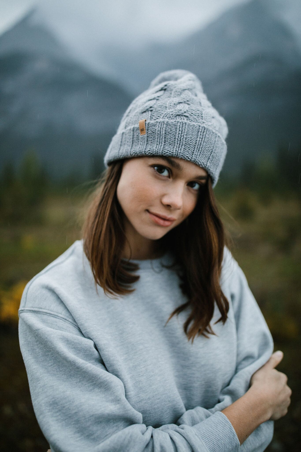 Atlin Pom Beanie in Light Gray - Dalton Boutique
