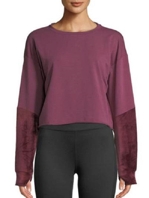 Splendid Velvet Sleeve Crop Sweatshirt in Scarlet - Dalton Boutique