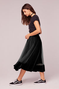 Tiny Dancer Black Velvet Pleated Midi Skirt - Dalton Boutique
