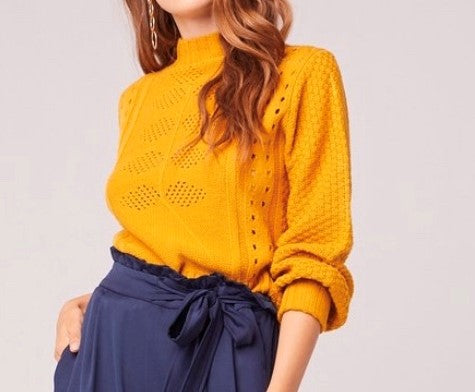 Pointelle Yellow Sweater - Dalton Boutique