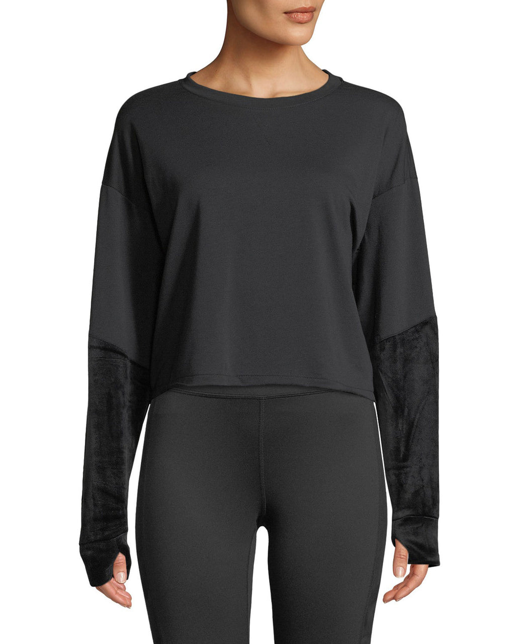 Splendid Velvet Sleeve Crop Sweatshirt in Black - Dalton Boutique