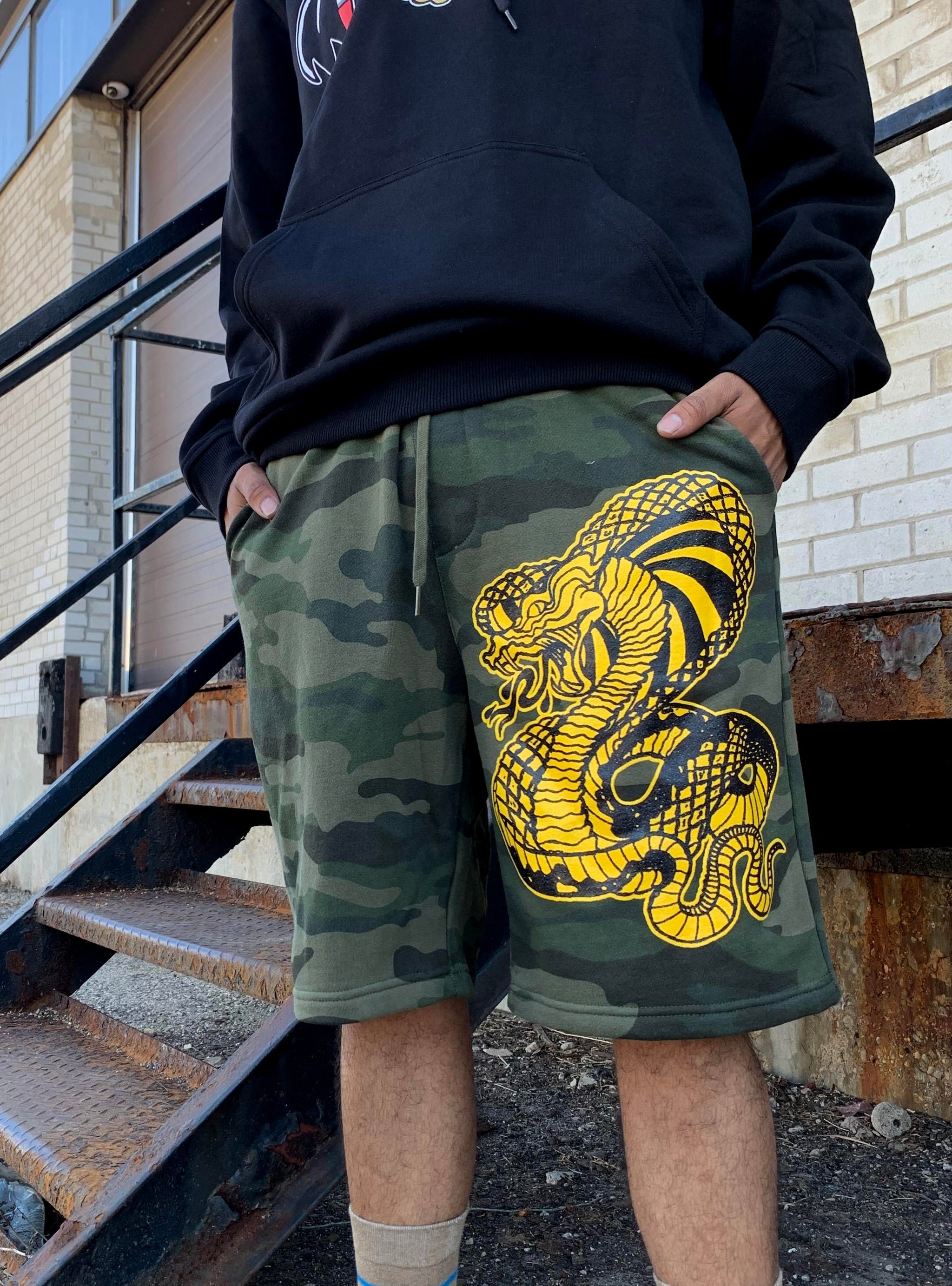 Camo Cobra Fleece Shorts
