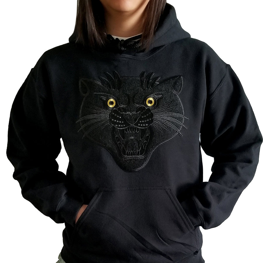 Black on Black Chenille Panther Hoodie