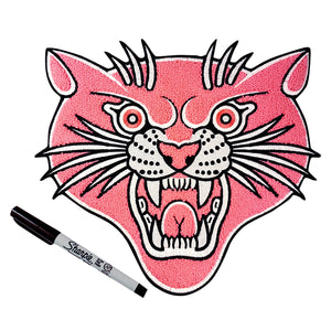 Pink Chenille Panther Back Patch