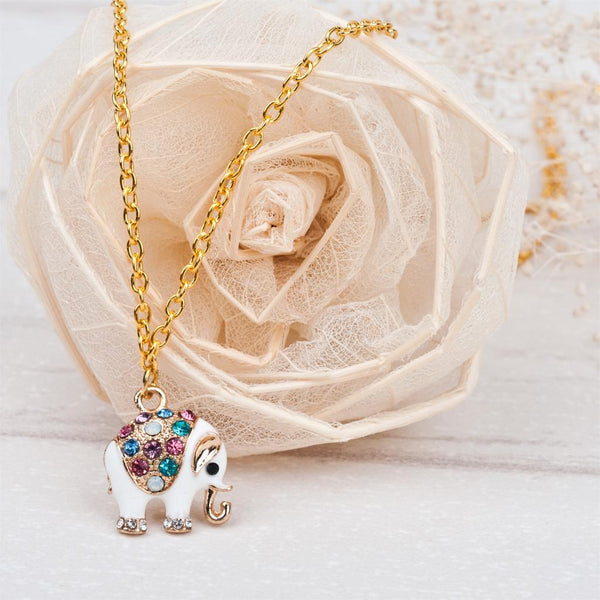 Crystal Elephant Necklace With Gems - necklace - The Elephant Kingdom Shop. Perfect gift for an elephant lover