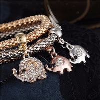 Crystal Elephant Charm Bracelet (x3 Pieces) - bracelet - The Elephant Kingdom Shop. Perfect gift for an elephant lover