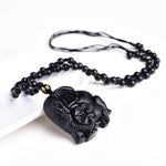 Black Obsidian Chinese Elephant Necklace - necklace - The Elephant Kingdom Shop. Perfect gift for an elephant lover