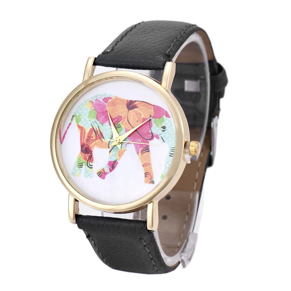 Elephant Pattern Leather Wrist Watch - watch,watches - The Elephant Kingdom Shop. Perfect gift for an elephant lover