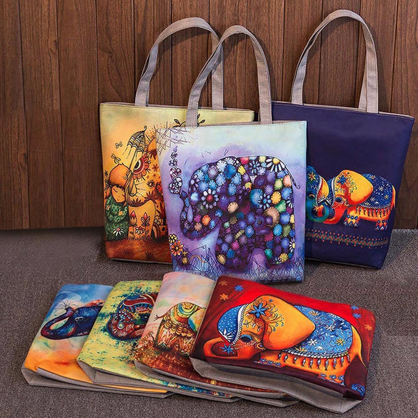Elephant Printed Canvas Handbags - handbag - The Elephant Kingdom Shop. Perfect gift for an elephant lover