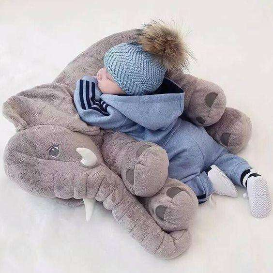 b1ace2d76401a7 Large Long Nose Elephant Gray Soft Plush Sleep Baby Pillow – TYChome