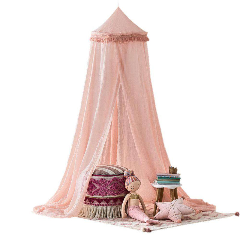 Tassel Decor Chiffon Crepe Canopy in Pink/ Gray/ White