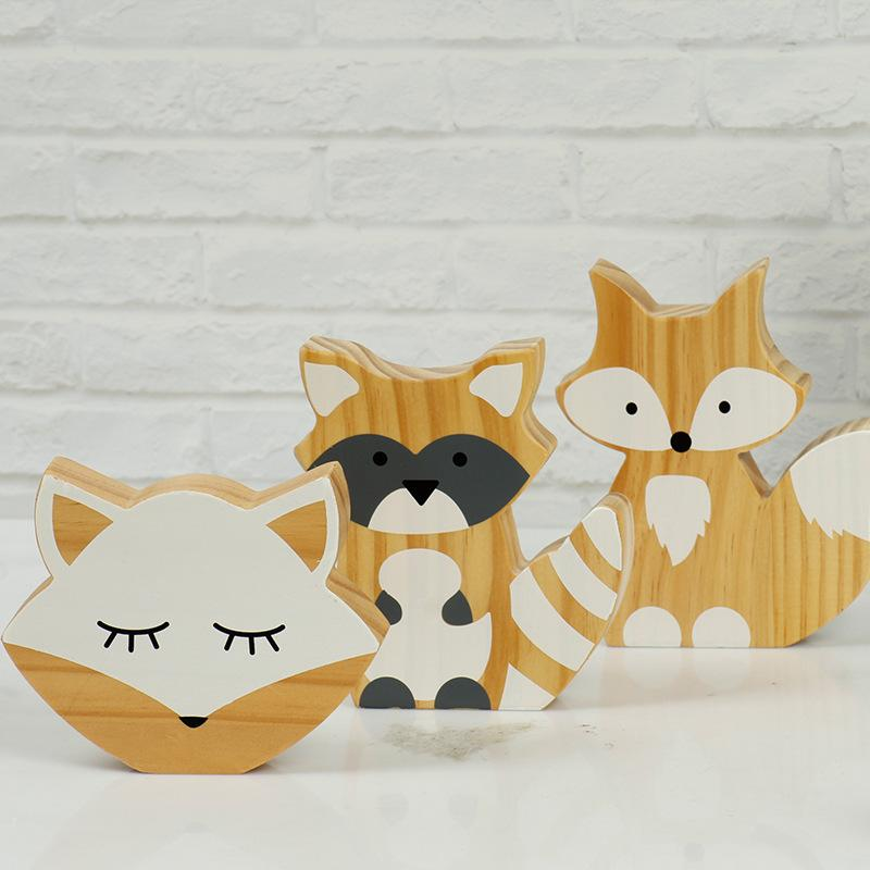 Fresh Color 3 Pcs Wooden Animal Fox Raccoon Funny Building Blocks Playroom Decor Baby Toys
