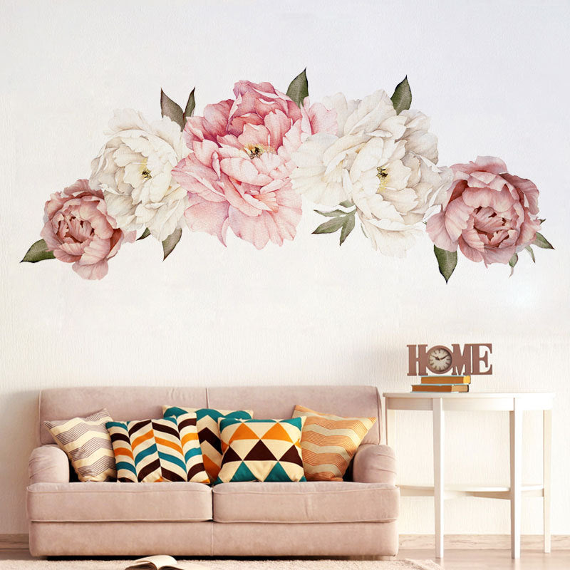 Simple Poeny Large Flower Print Paste Movable Sticker for Kids Bedroom Living Dining Room Decor (I)