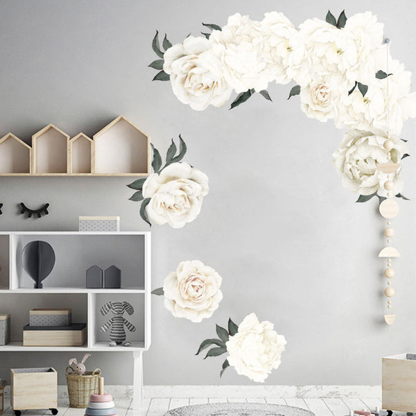 Pure Poeny Large Flower Print Paste Movable Sticker for Kids Bedroom Living Dining Room Decor in White