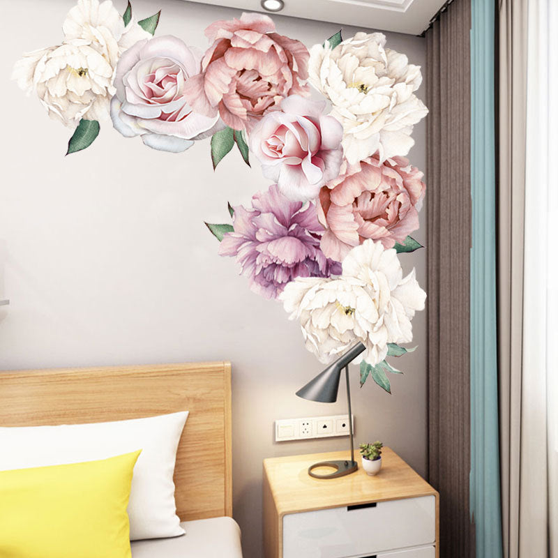 Beautiful Flower Print Paste Movable Sticker for Kids Bedroom Living Room Decor (F)
