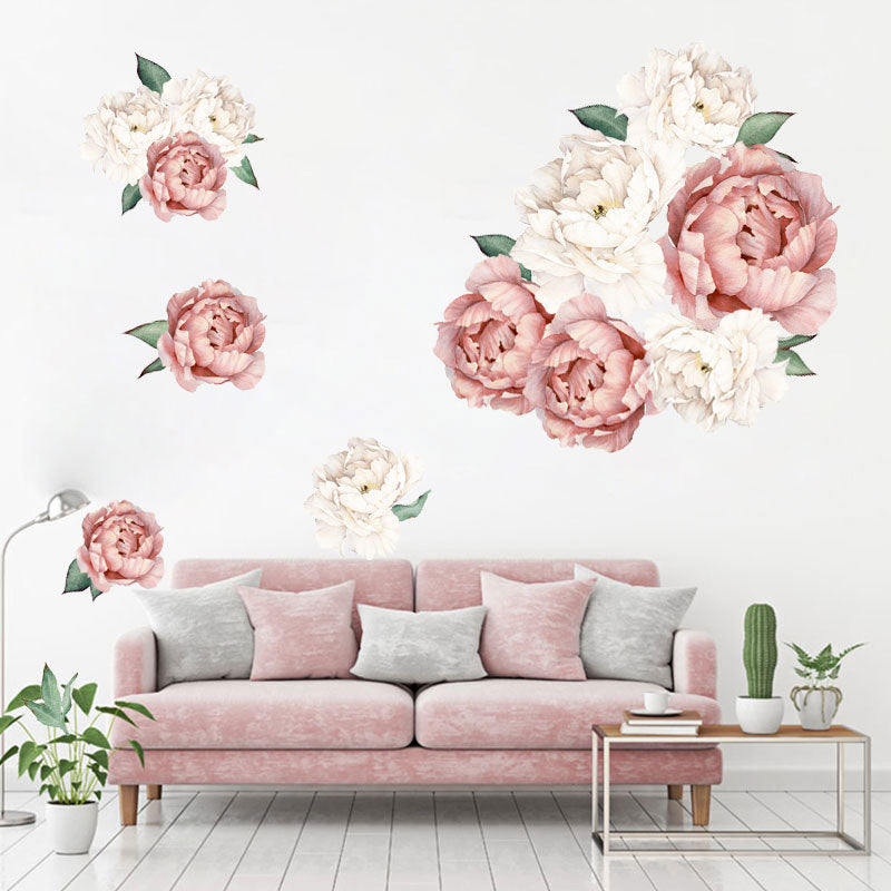 Beautiful Muted Color Poeny Bouquet Print Paste Movable Sticker for Kids Bedroom Living Dining Room Decor in Nude Pink