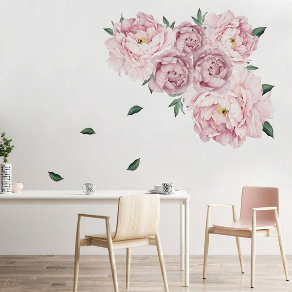 Beautiful Poeny Bouquet Print Paste Movable Sticker for Kids Bedroom Living Dining Room Decor in Nude Pink