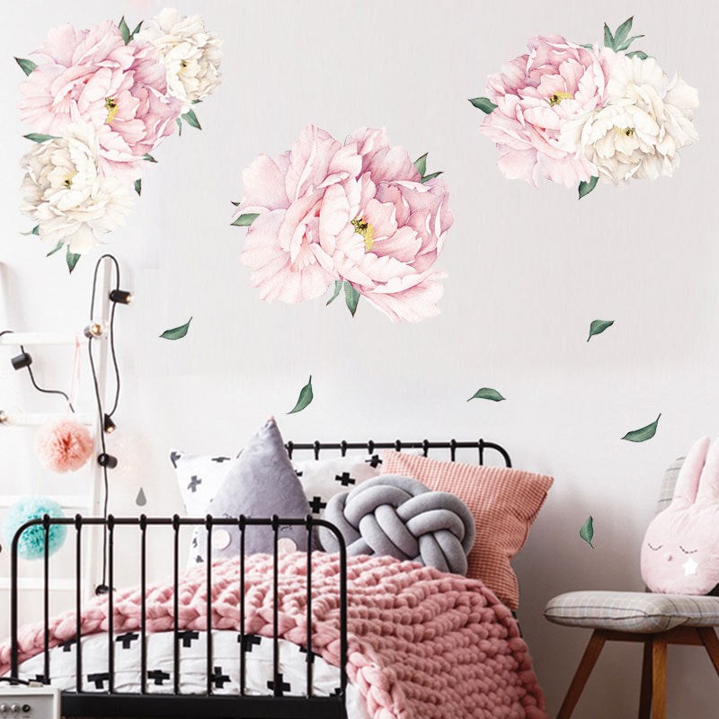 Amiable Poeny Flower Print Paste Movable Sticker for Kids Bedroom Living Room Decor in Light Pink