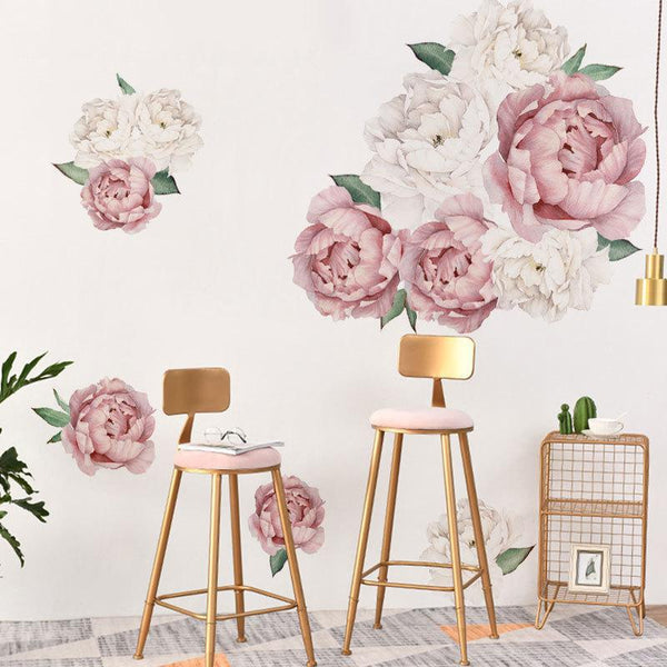 Popular Poeny Flower Print Paste Movable Sticker for Kids Bedroom Living Room Decor