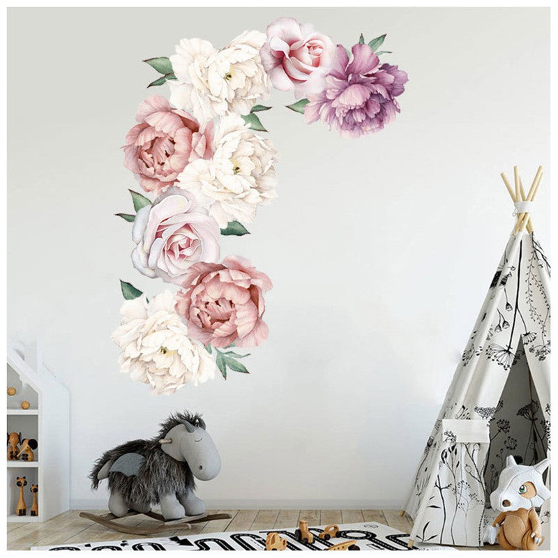 Beautiful Flower Print Paste Movable Sticker for Kids Bedroom Living Room Decor