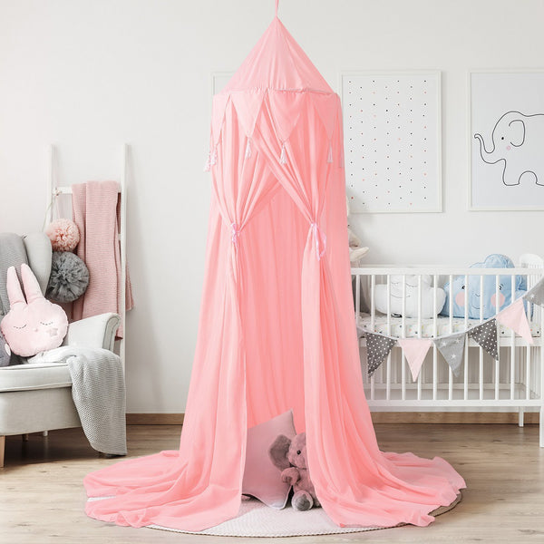 Tassel Chiffon Round Dome Bed Net Unique Design Bed Canopy- 3 colors