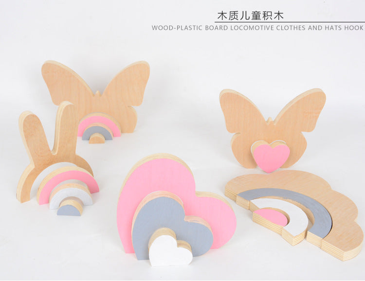 Rabbit/ Butterfly Intellectual Building Blocks Set Diy Wood Toys Fun Educational Toy Scandinavian Decor