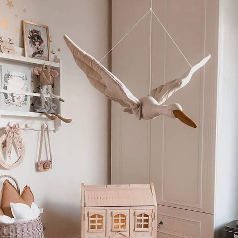 Vintage Flax Cotton Swan Hanging Doll Playroom Decor Babyroom Decoration