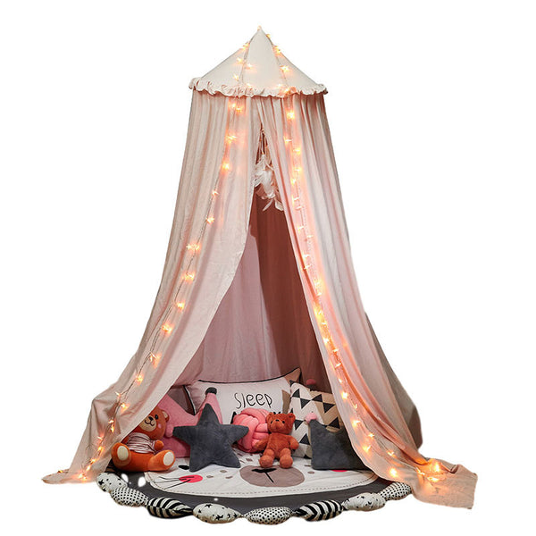 Flounced Over Size Round Dome Mantle Tent Bed Canopy for Baby Playroom