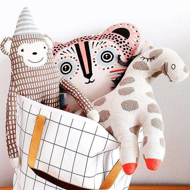 Canvas Geo Print Portable Toy Storage Hanging Bag for Kids