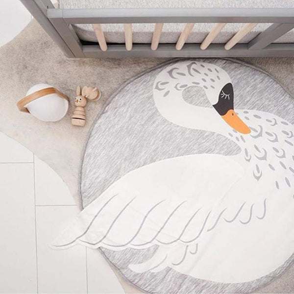 Swan Printed Decor Creeping Carpet