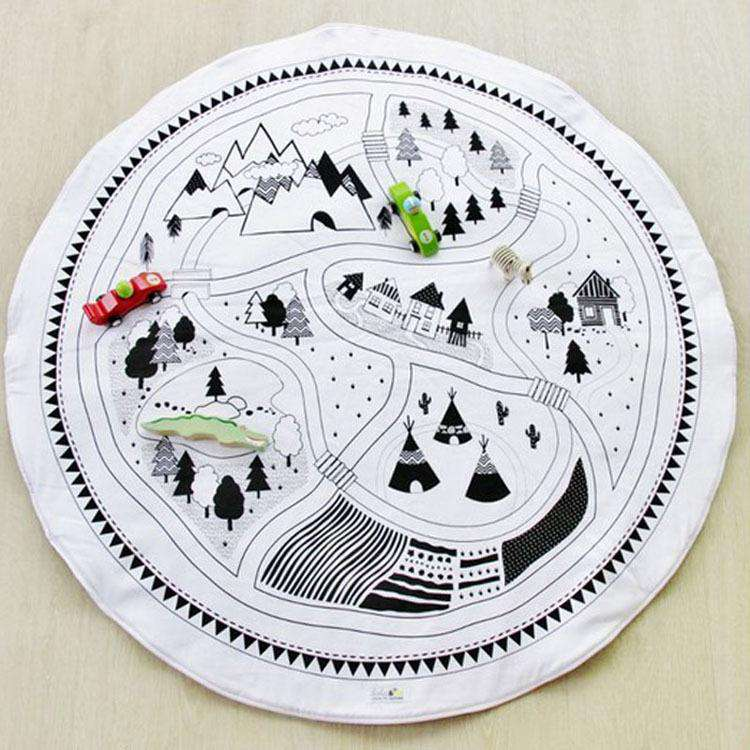 Round Carpet Village Print Adventure Game Floor Kids Playmats Baby Children's Room Decoration