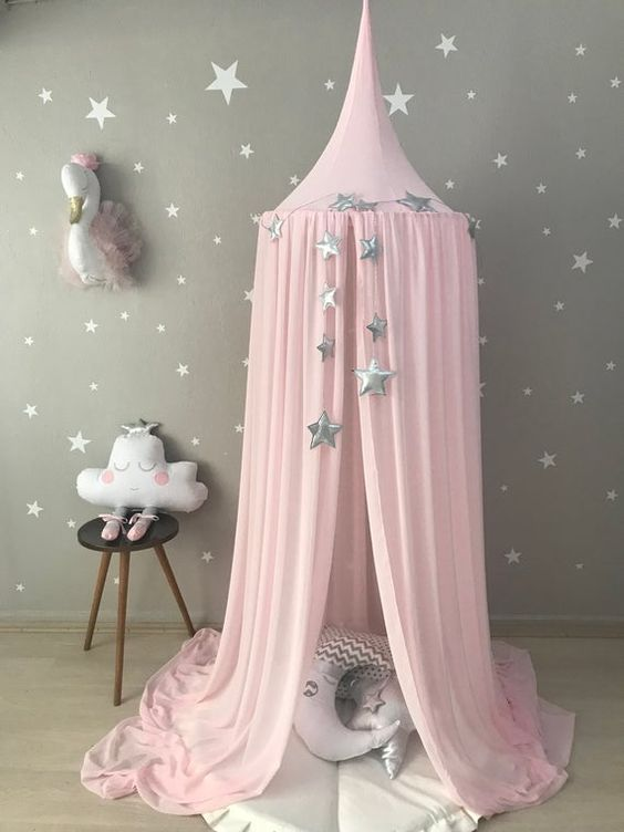 Tip Round Dome Mantle Cotton Tent Bed Canopy for Baby Playroom- 6 colors