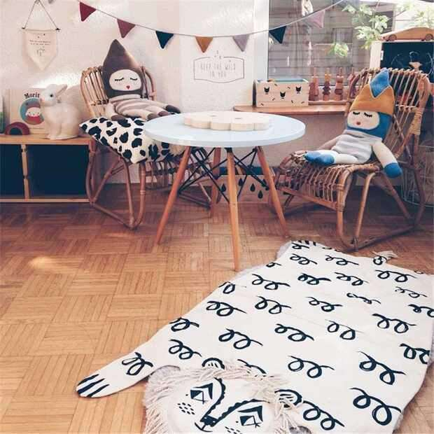 Animal Tassel Lion Playmat Crawling Rug Creeping Carpet Blanket