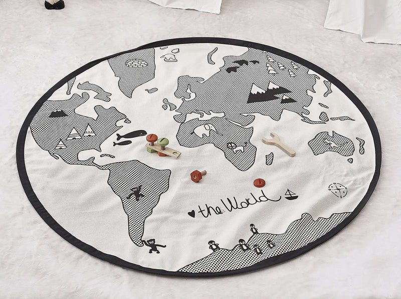 World Map Print Playmat Creeping Carpet
