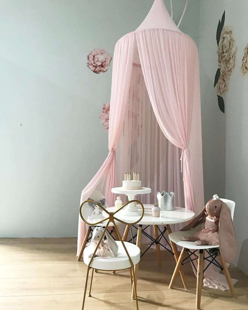 Kids' Solid Color Chiffon Hanging Mosquito Net Bed Canopy for Sleeping Room