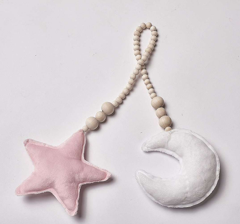 Wooden Bead Cotton Moon&Star String DIY Playroom Decoration Photography
